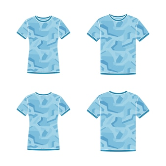 Blue short sleeve t-shirts templates with the camouflage pattern
