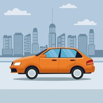거리에서 클래식 자동차의 블루 실루엣 도시 풍경 배경