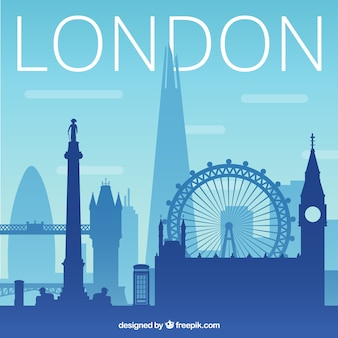 Синий силуэт горизонта лондона