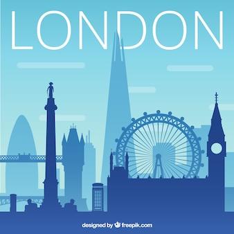 Blue silhouette of skyline of london
