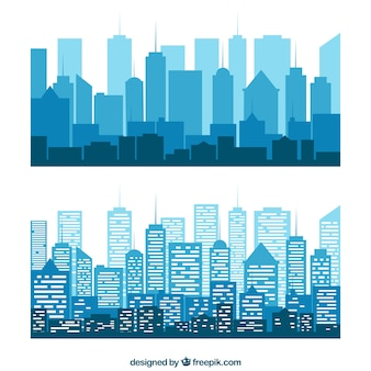 Blue silhouettes of buildings
