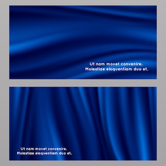 Blue silk fabric background set