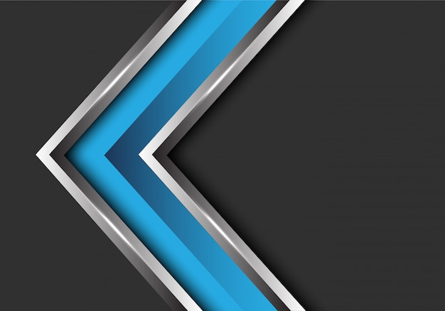 Blue silver arrow direction on grey blank space background.