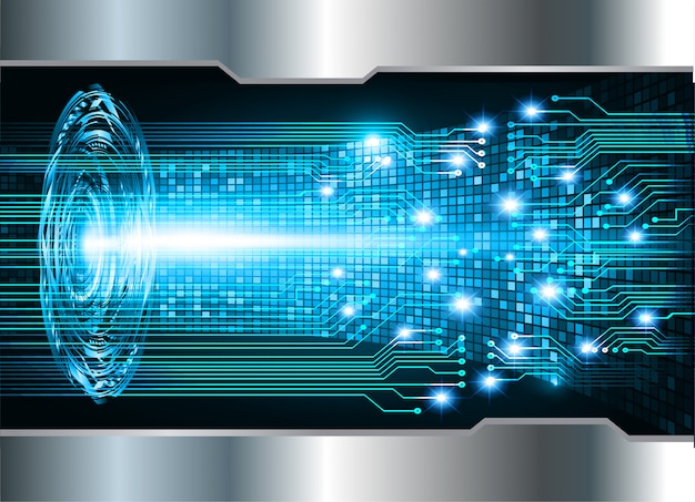 Blue silver cyber circuit future technology background