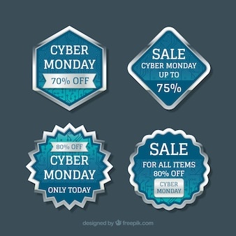 Blue and silver cyber monday labels