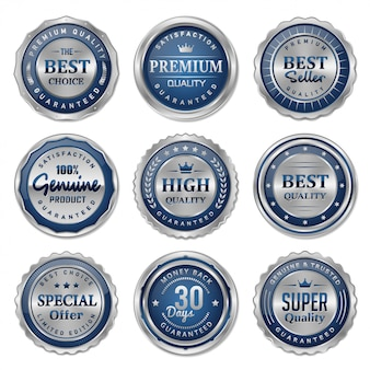 Blue and silver metal badges and labels collection