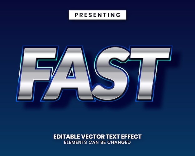 Blue silver shiny metal editable movie text effect