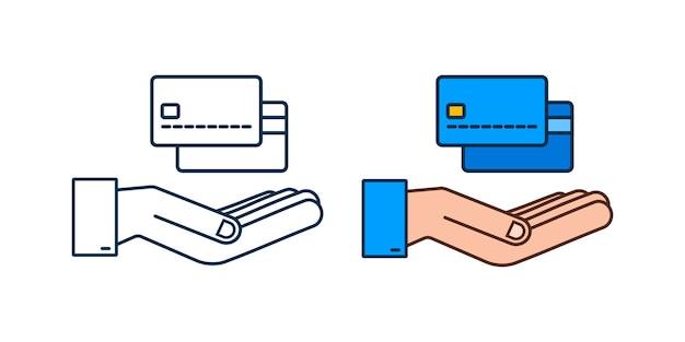 白い背景の上の手のテンプレートと青いシンプルなクレジットカード。ベクトルイラスト。