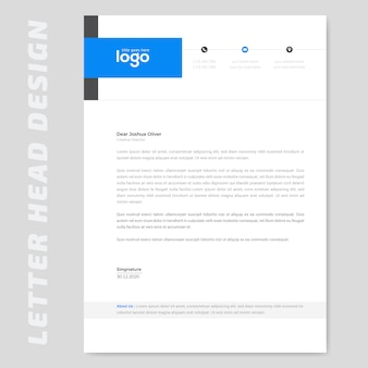Blue simple letterhead