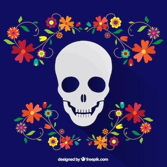 花の飾りブルー頭蓋骨の背景