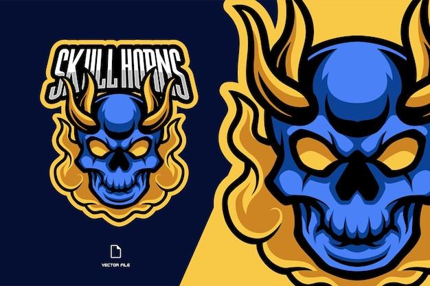 ゲームの青い頭蓋骨の角のあるマスコットスポーツロゴイラスト