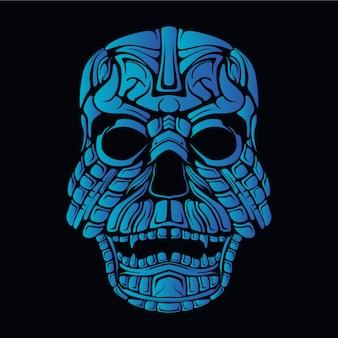 파란 해골 그림