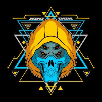Blue skull mask with sacred geometry for commercial use