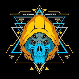 상업적 사용을 위한 신성한 기하학이 있는 파란색 해골 마스크