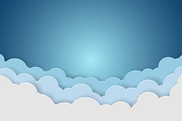 青い空と雲の紙の背景イラスト