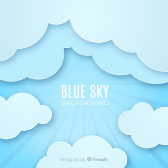 Blue sky background in paper style