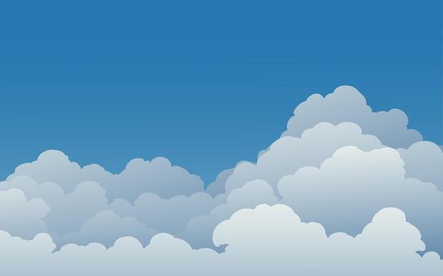 Фон голубого неба с облаками Premium векторы