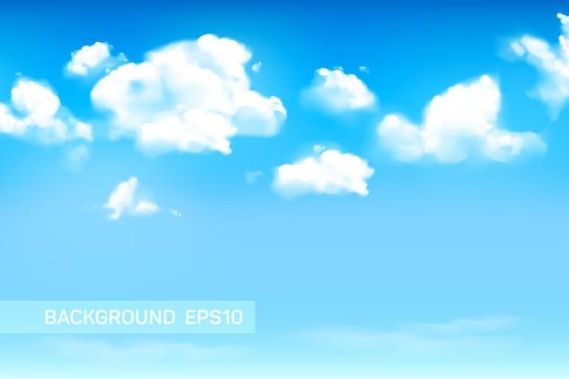 ふわふわまたは積雲と青い空の背景