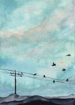 Blue sky and bird watercolor background