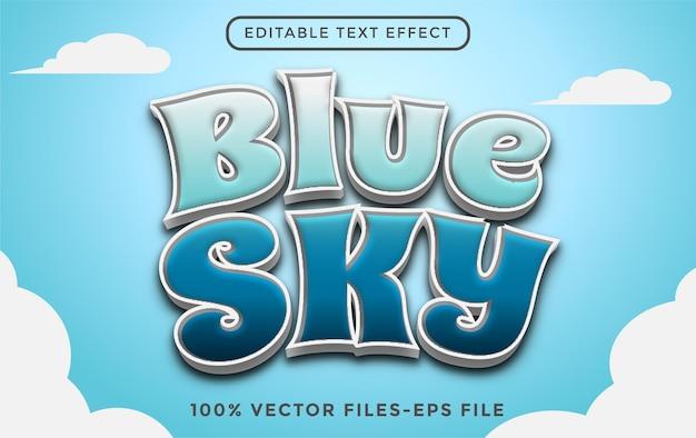 Blue sky editable text effect premium vectors