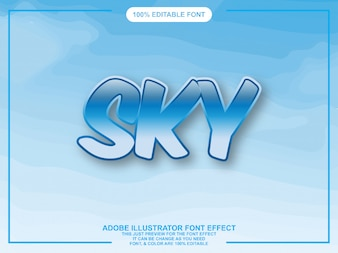 Blue sky graphic style illustrator editable typography