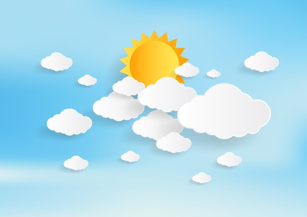 Blue sky and sun with clouds background