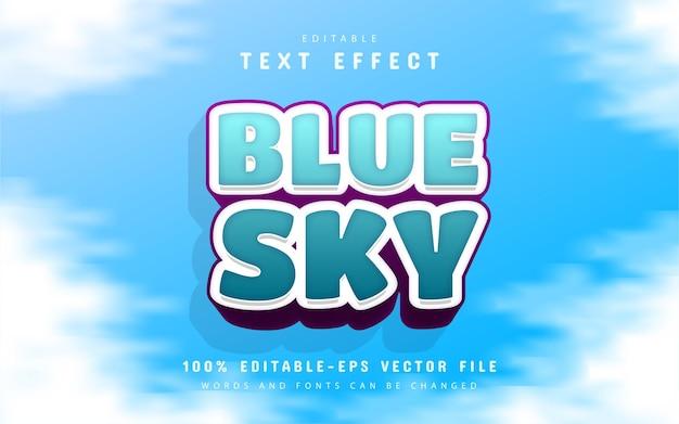 Blue sky text effect cartoon style
