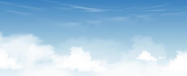 高層雲の背景と青い空、巻雲とベクトル漫画の空、晴れた日の春と夏の朝のすべての季節の地平線バナーをコンセプトします。ベクトルイラストの地平線