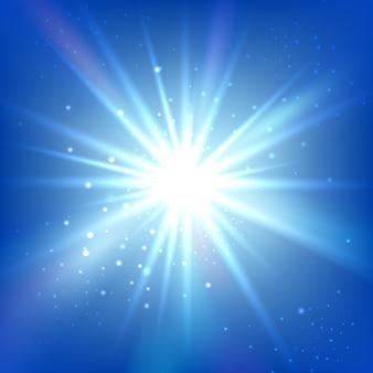 明るいフラッシュまたはバーストのある青い空。抽象的なベクトルの背景。シャインスター
