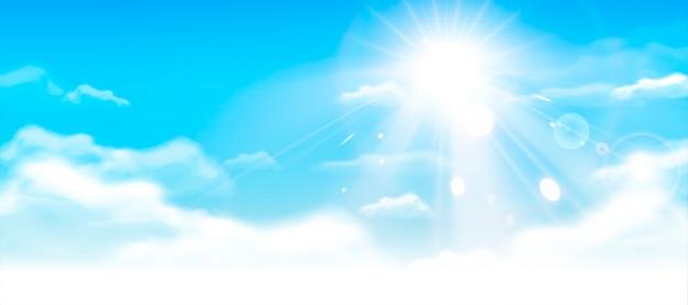 Голубое небо с облаками и солнцем