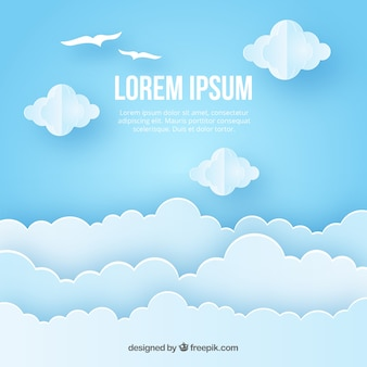 Blue sky with clouds in paper style