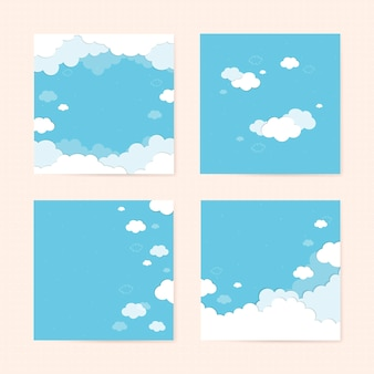 Blue sky with clouds patterned background vector set