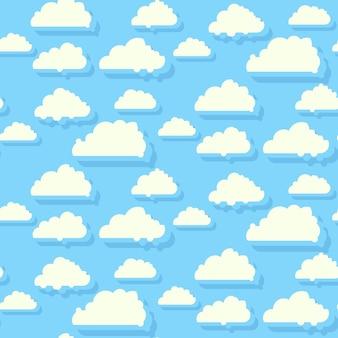 雲のシームレスなパターンの背景と青い空