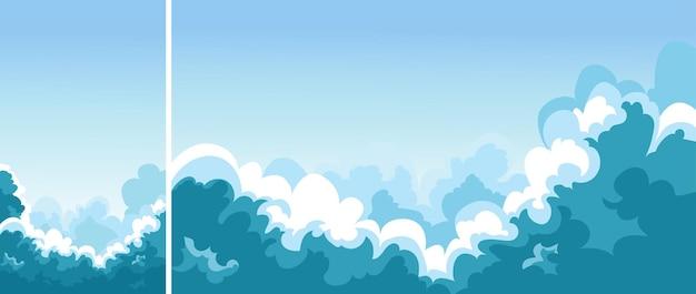 구름과 푸른 하늘입니다. 수직 및 수평 방향의 자연 경관 세트.