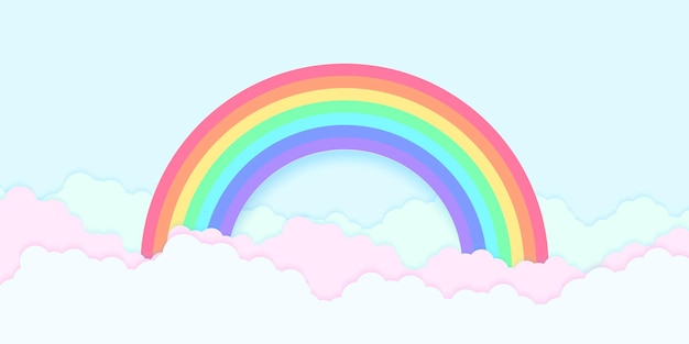 虹とカラフルな雲、紙のアートスタイルと青い空