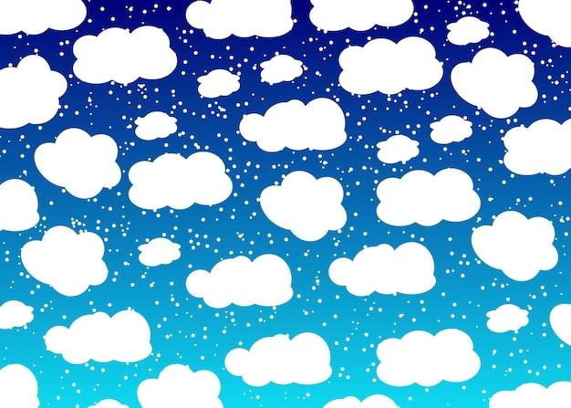 雪と雲と青い空。赤ちゃんの背景。