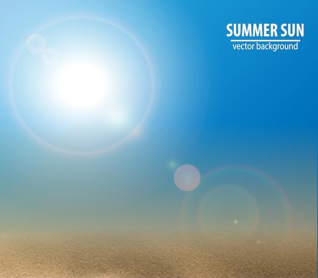 Blue sky with summer sun. vector illustration.