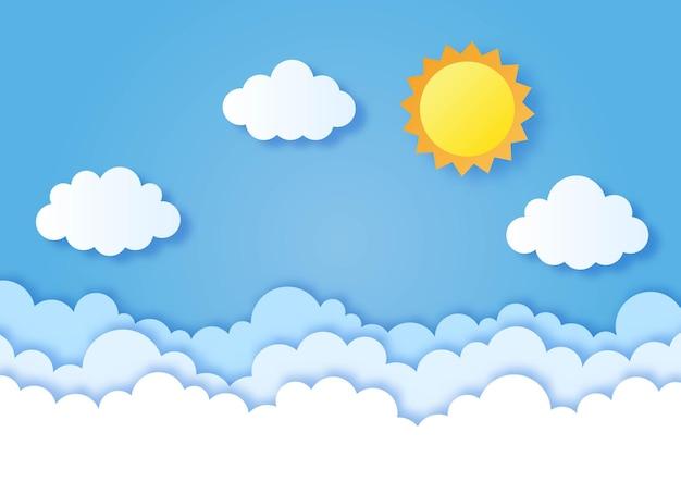太陽のペーパーアートスタイルと青い空