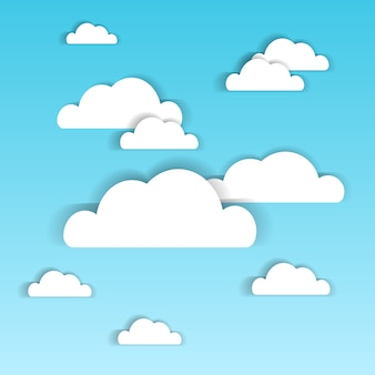Blue sky with white paper clouds summer cloudscape background