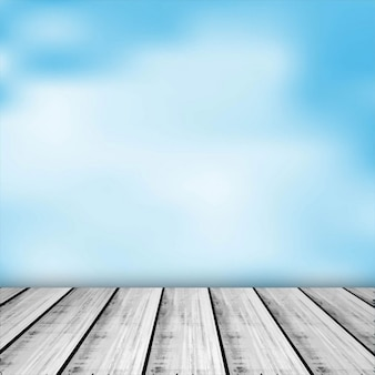 Blue sky with a wooden table