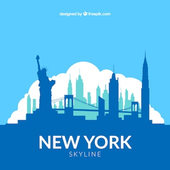 Blue skyline of new york