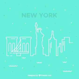Blue skyline of new york design