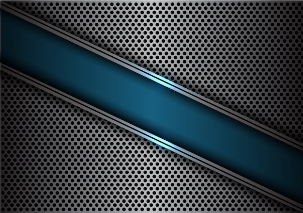 Blue slash banner silver line circle mesh background.