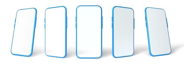 青いスマートフォンのモックアップ、3dベクトルテンプレートセット。白い背景の上の携帯電話の正面図。