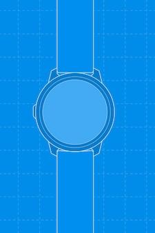 青いスマートウォッチ、空白の丸い画面、ヘルストラッカーデバイスのベクトル図