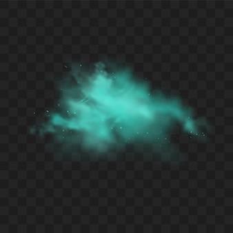 Голубой дым изолирован. реалистичное синее волшебное облако тумана, химический токсичный газ, паровые волны.