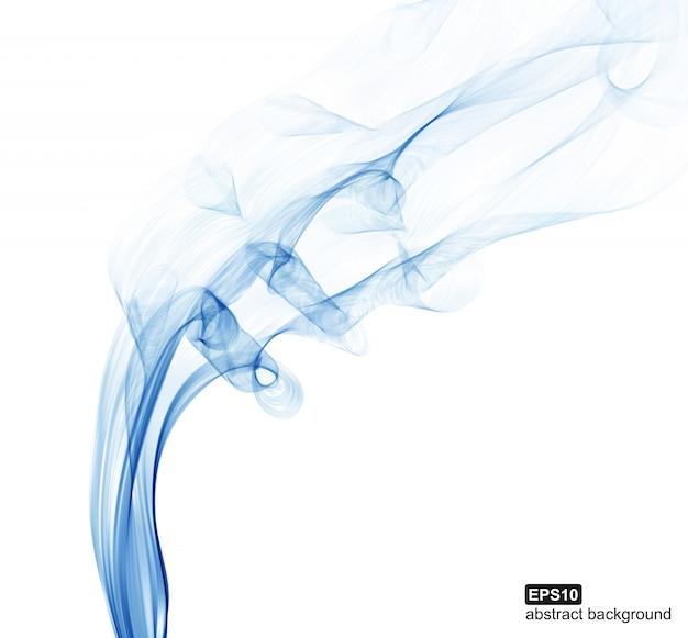 白い背景の青い煙の波。