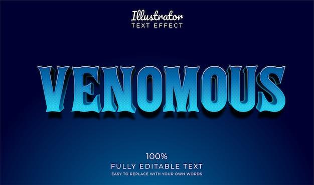 Текстурированный текстовый эффект синей змеиной кожи. редактируемый стиль шрифта