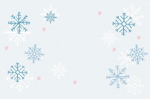 青い雪の結晶の背景、クリスマス冬落書きベクトル