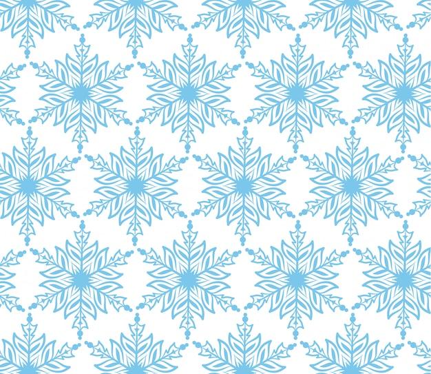 Blue snowflake christmas seamless background